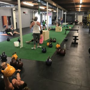 People lifting kettle bells