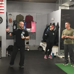 Fitness instructor teaching a class